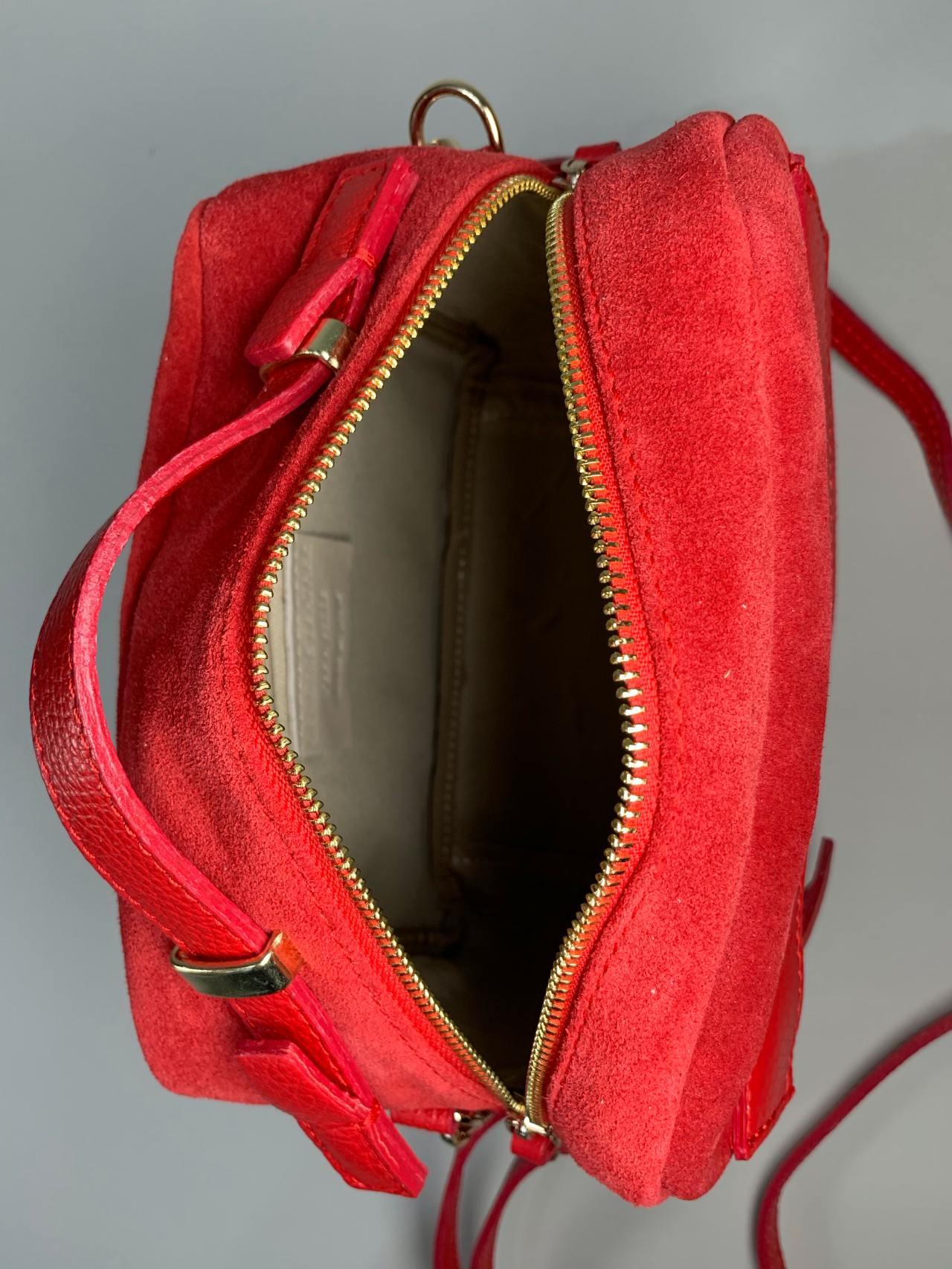 Kožená kabelka Saly červená -05