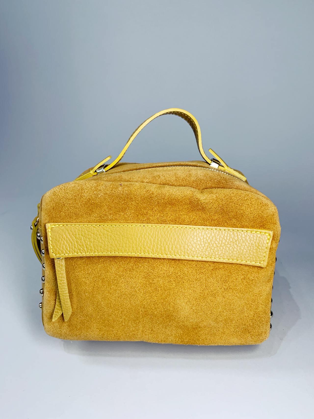 Kožená kabelka Saly žlutá -01