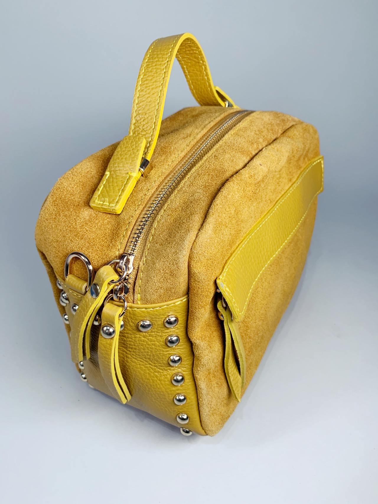 Kožená kabelka Saly žlutá -02
