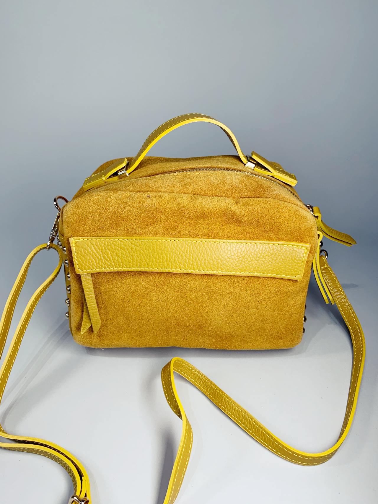 Kožená kabelka Saly žlutá -03