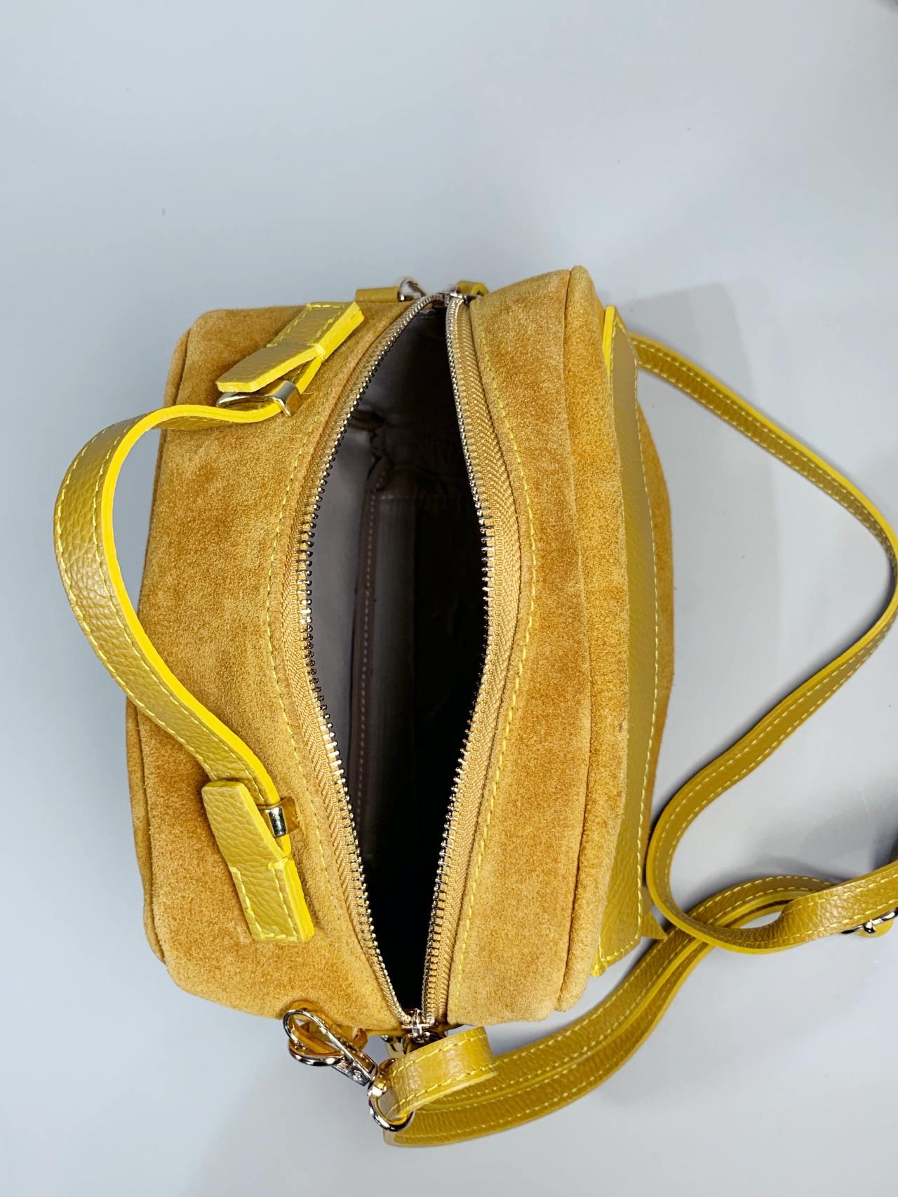 Kožená kabelka Saly žlutá -04