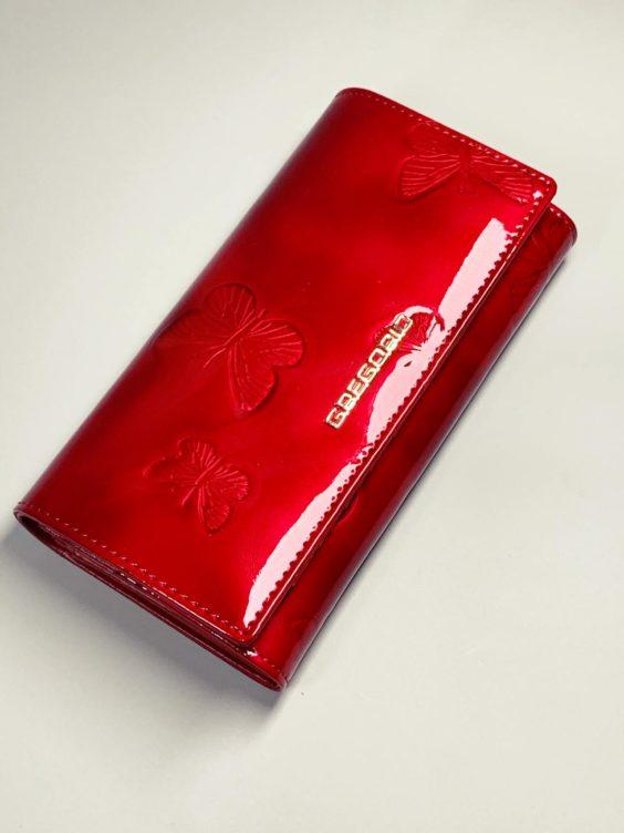 Kožená peněženka Gregorio L červená motýly -01