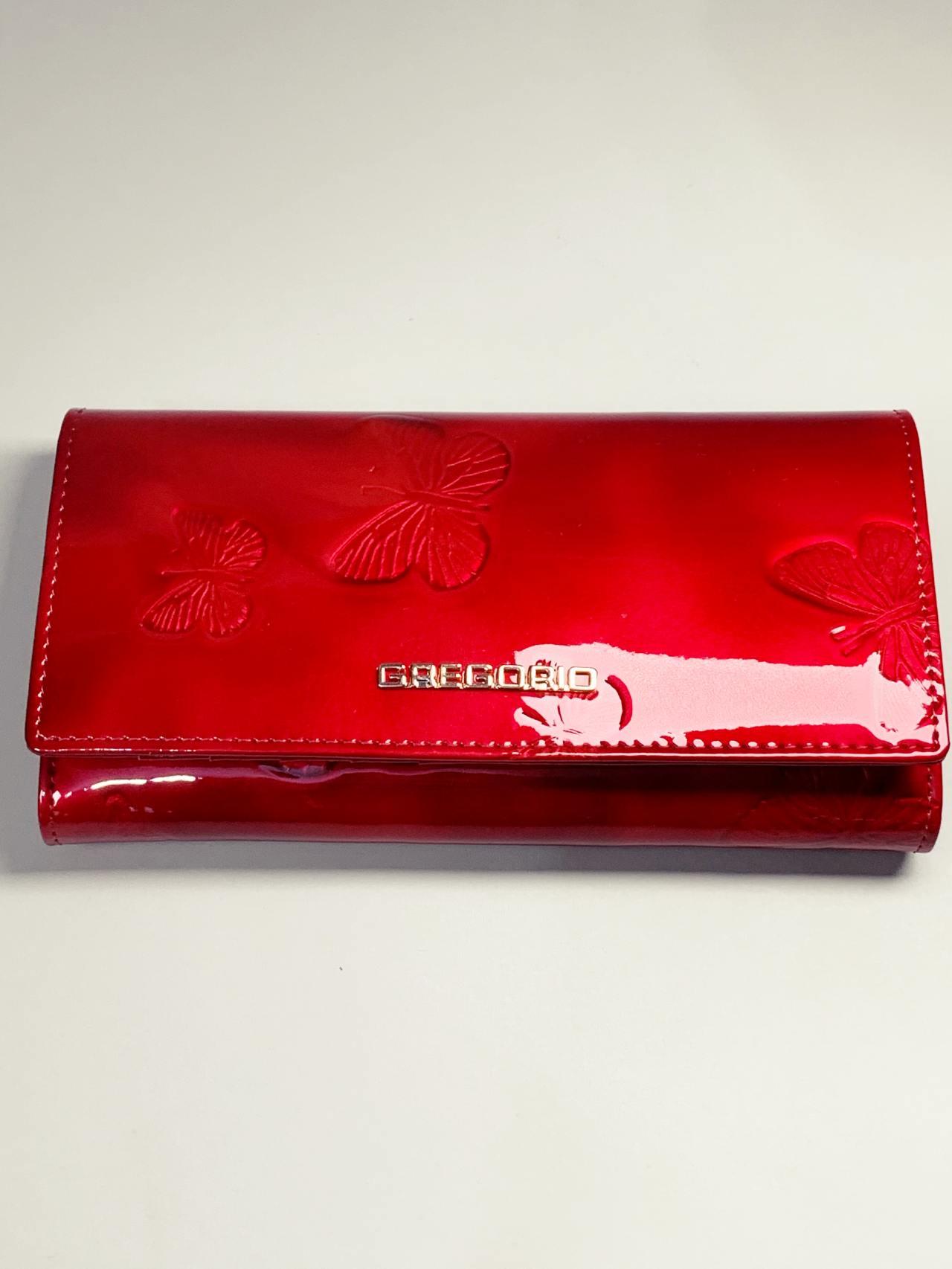 Kožená peněženka Gregorio L červená motýly -02