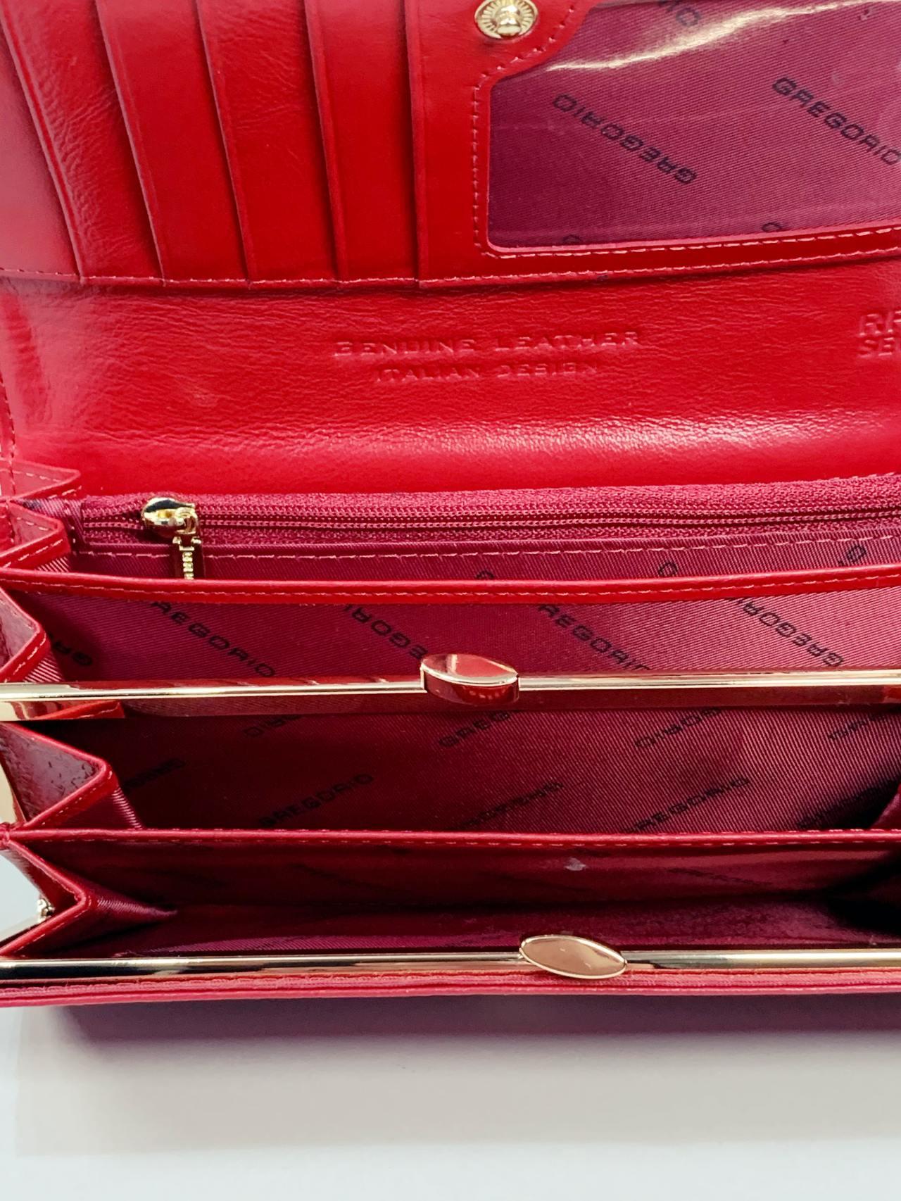 Kožená peněženka Gregorio L červená motýly -03