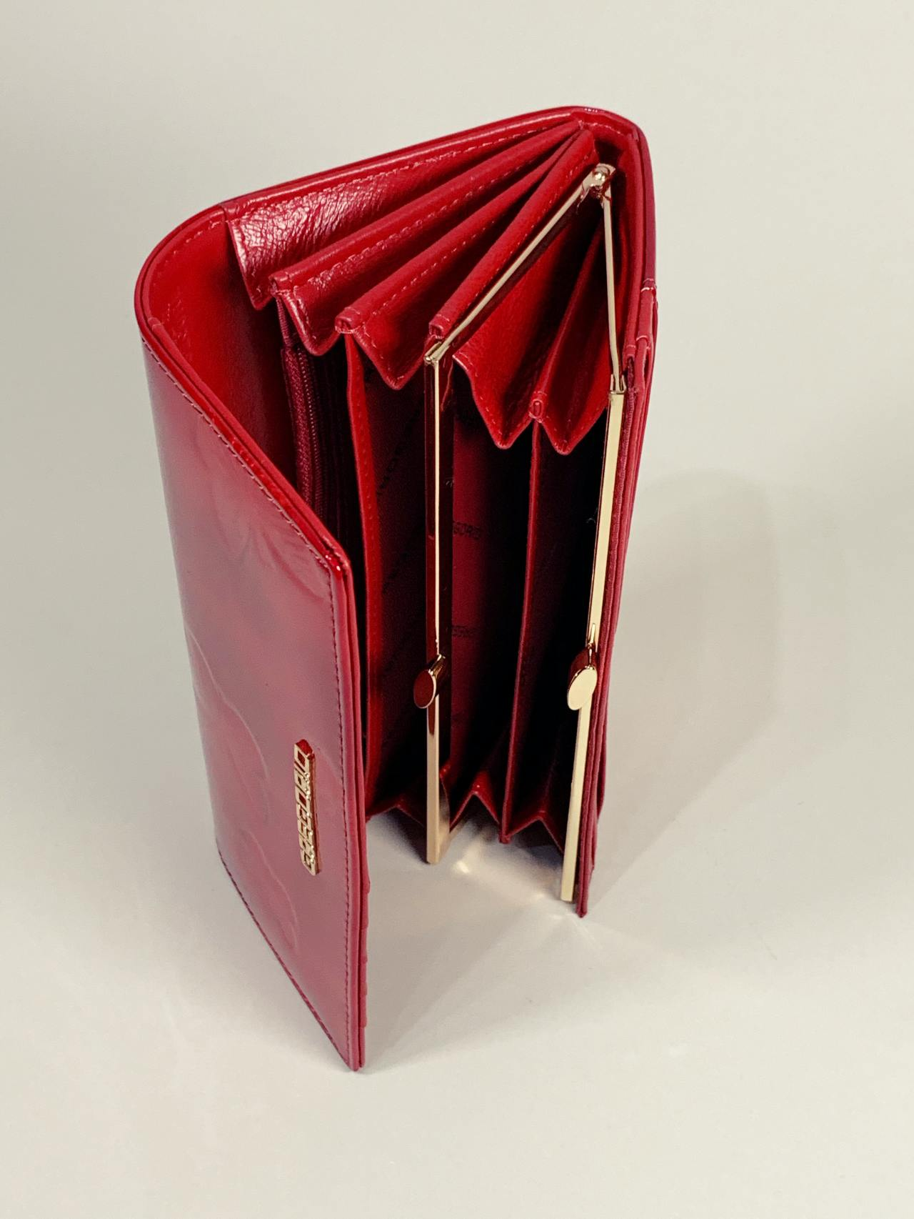 Kožená peněženka Gregorio L červená motýly -04