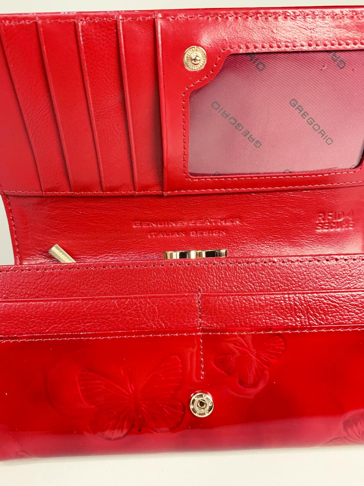 Kožená peněženka Gregorio L červená motýly -05