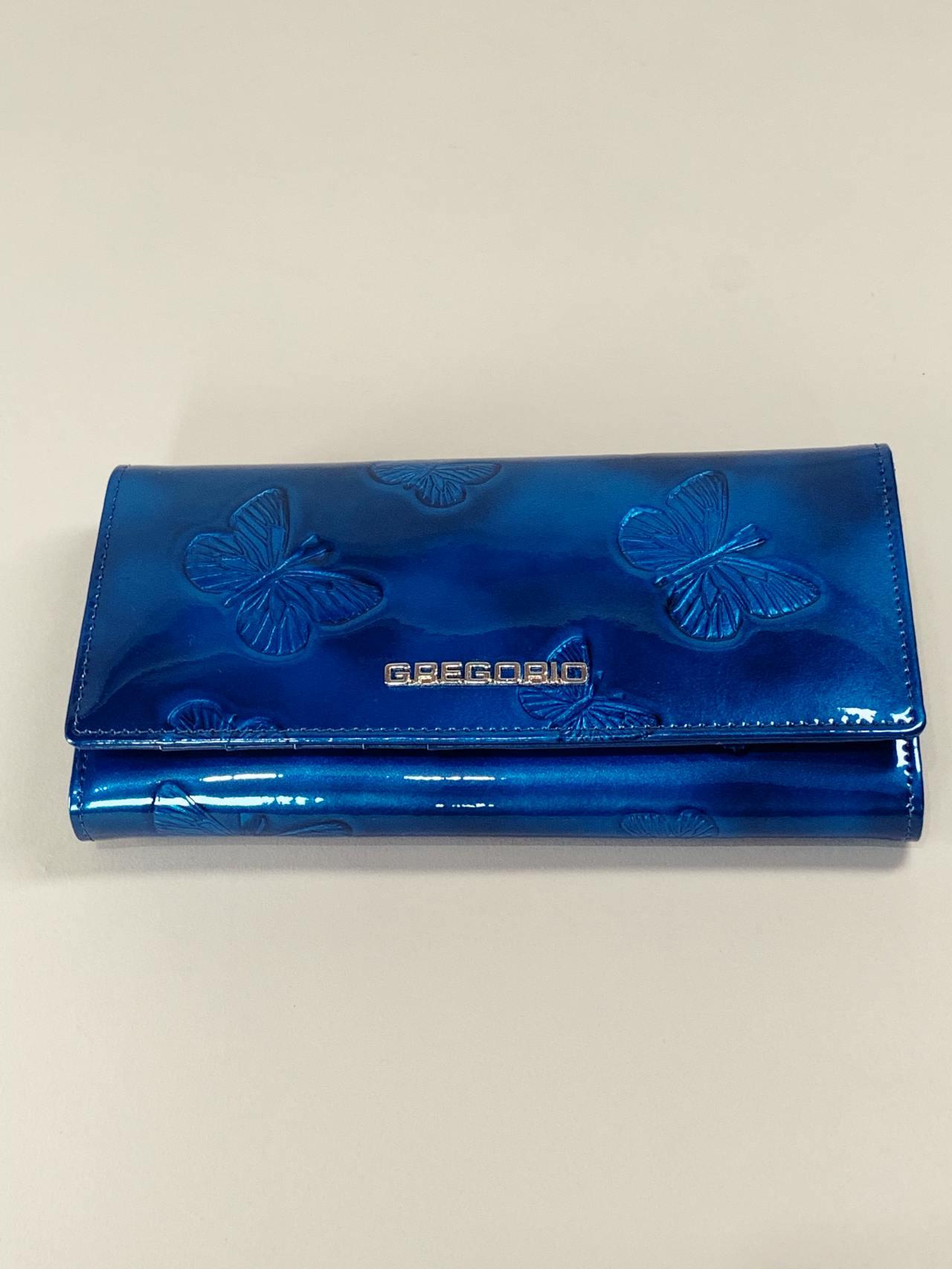 Kožená peněženka Gregorio L modrá s motýly -02