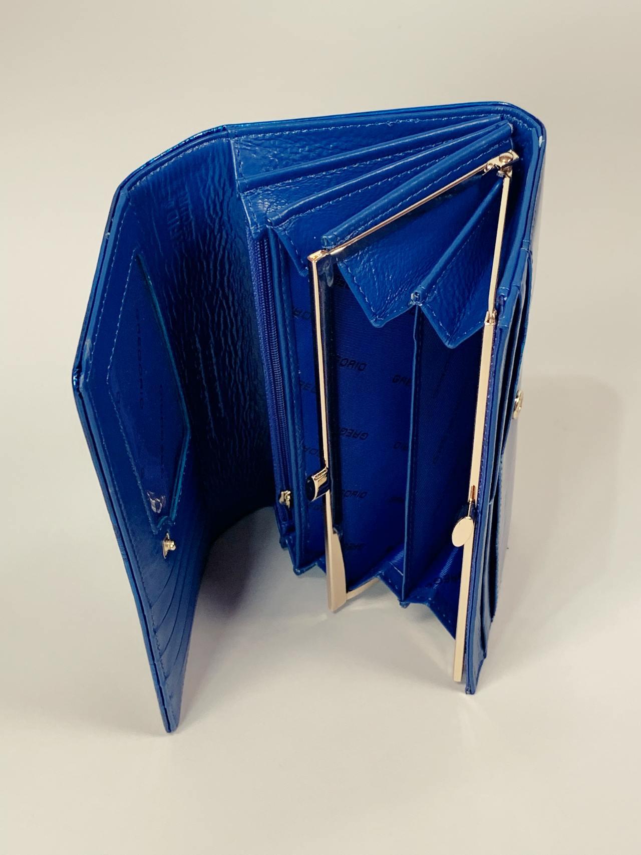 Kožená peněženka Gregorio L modrá s motýly -04