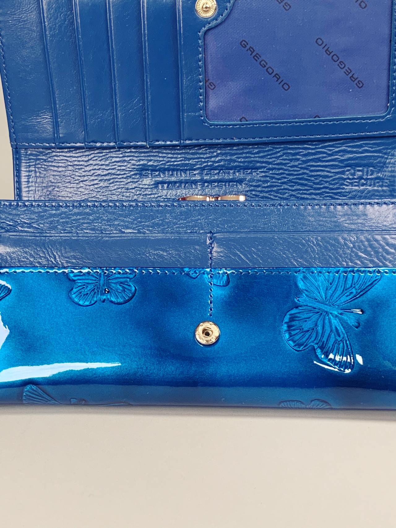 Kožená peněženka Gregorio L modrá s motýly -05