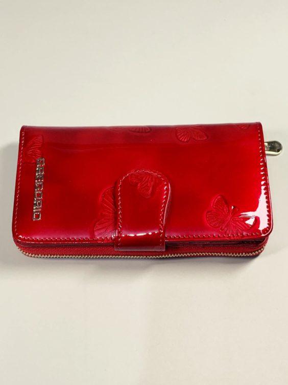 Kožená peněženka Gregorio M červená s motýly -02