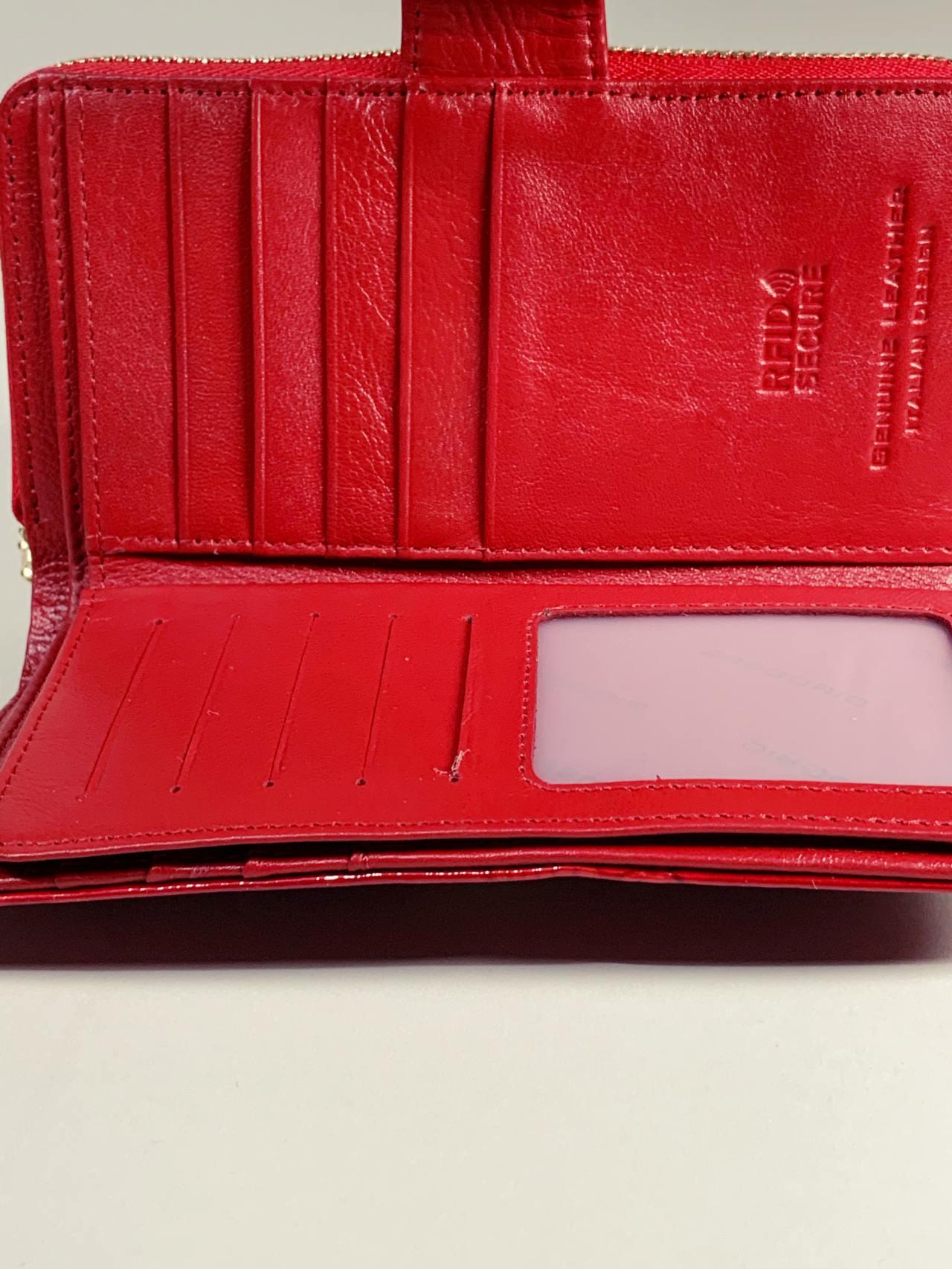Kožená peněženka Gregorio M červená s motýly -03