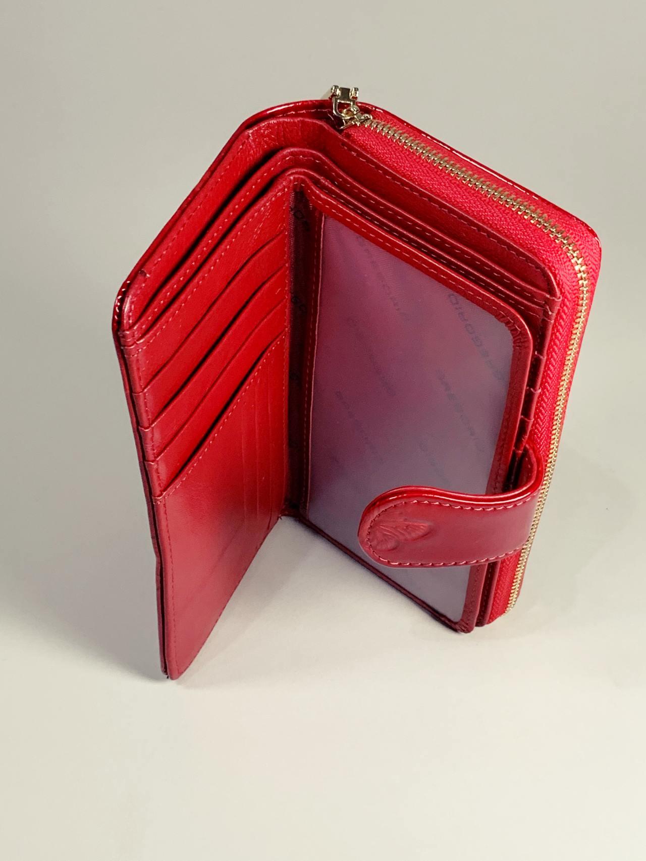 Kožená peněženka Gregorio M červená s motýly -04