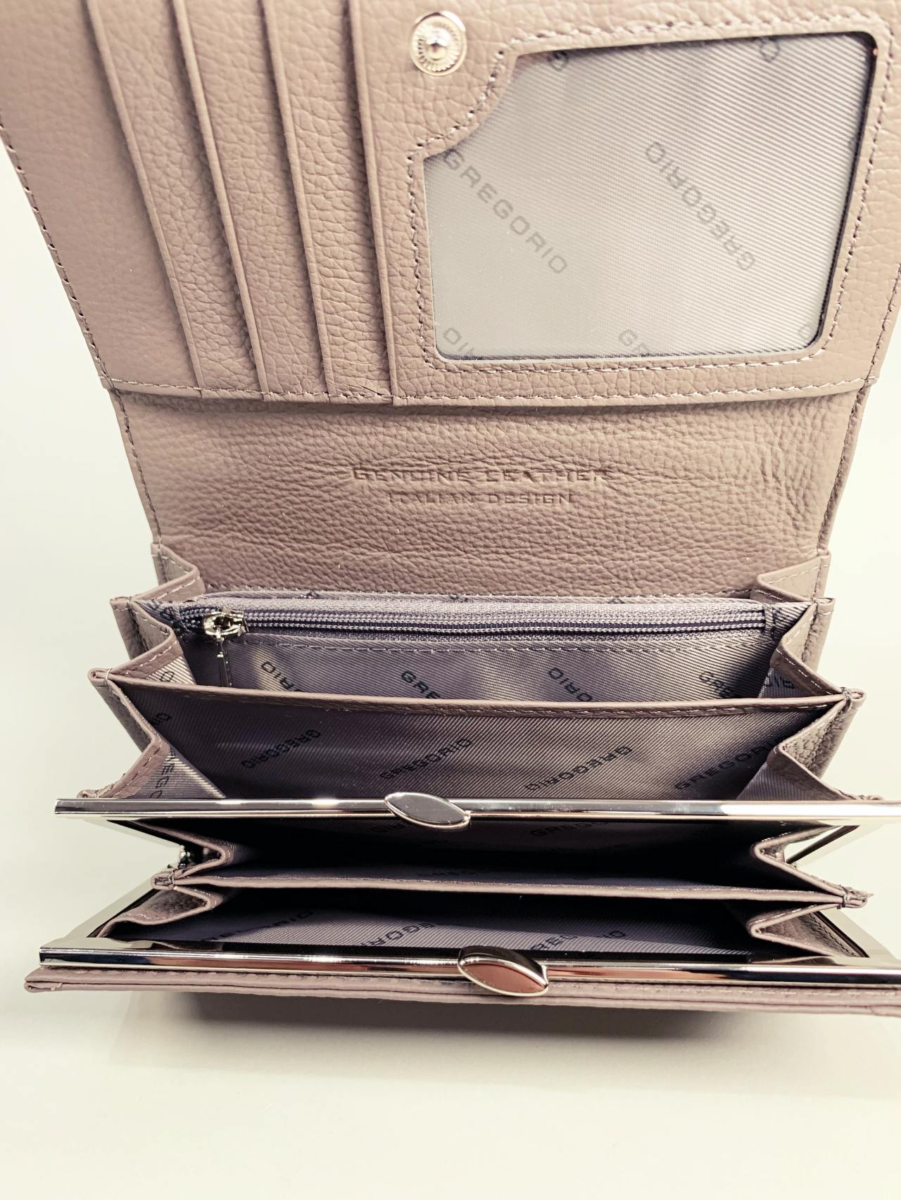 Kožená peněženka Gregorio M šedá -03