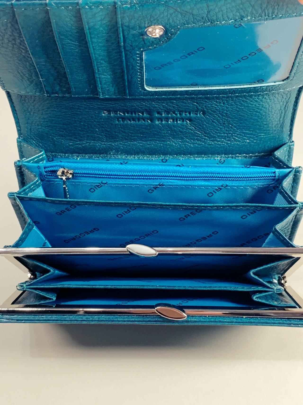 Kožená peněženka Gregorio M tyrkysová -03