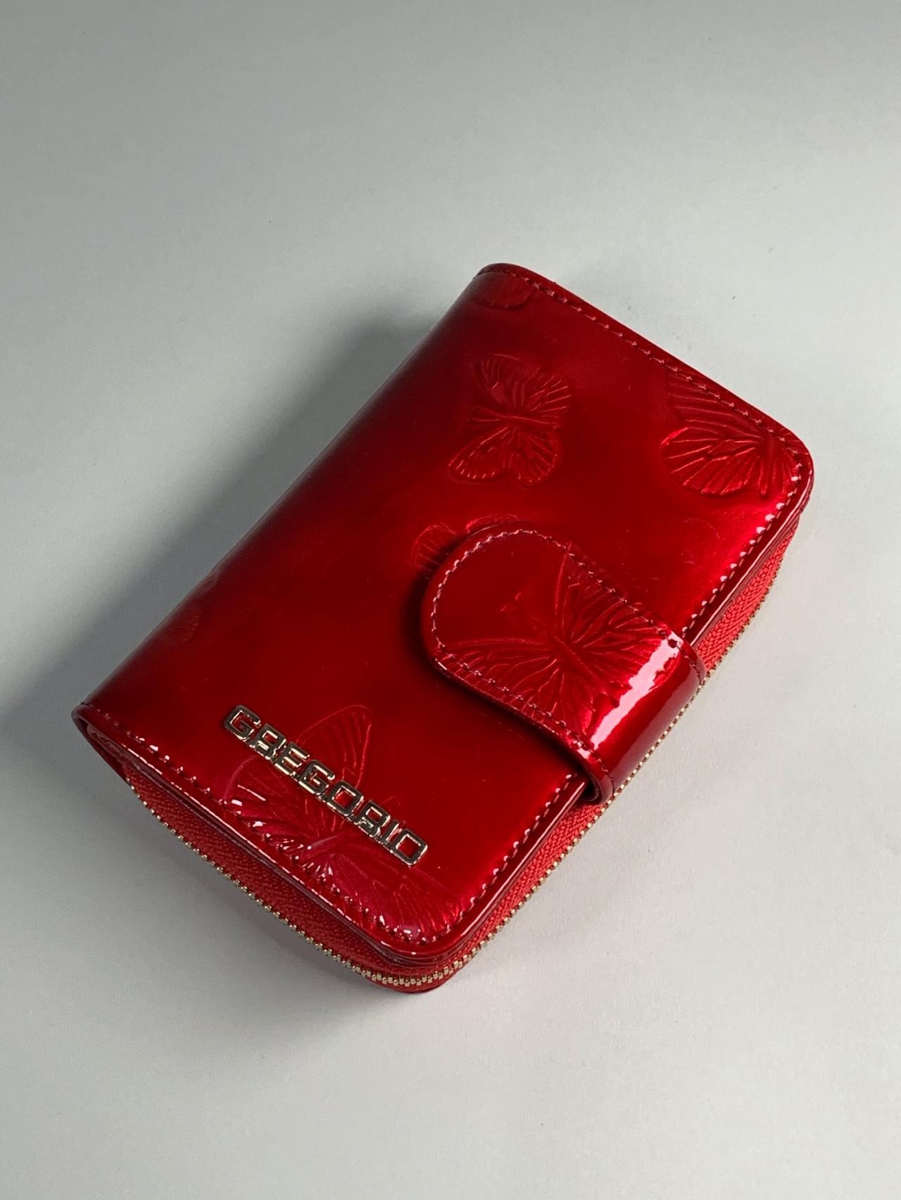 Kožená peněženka Gregorio S červená s motýly -01