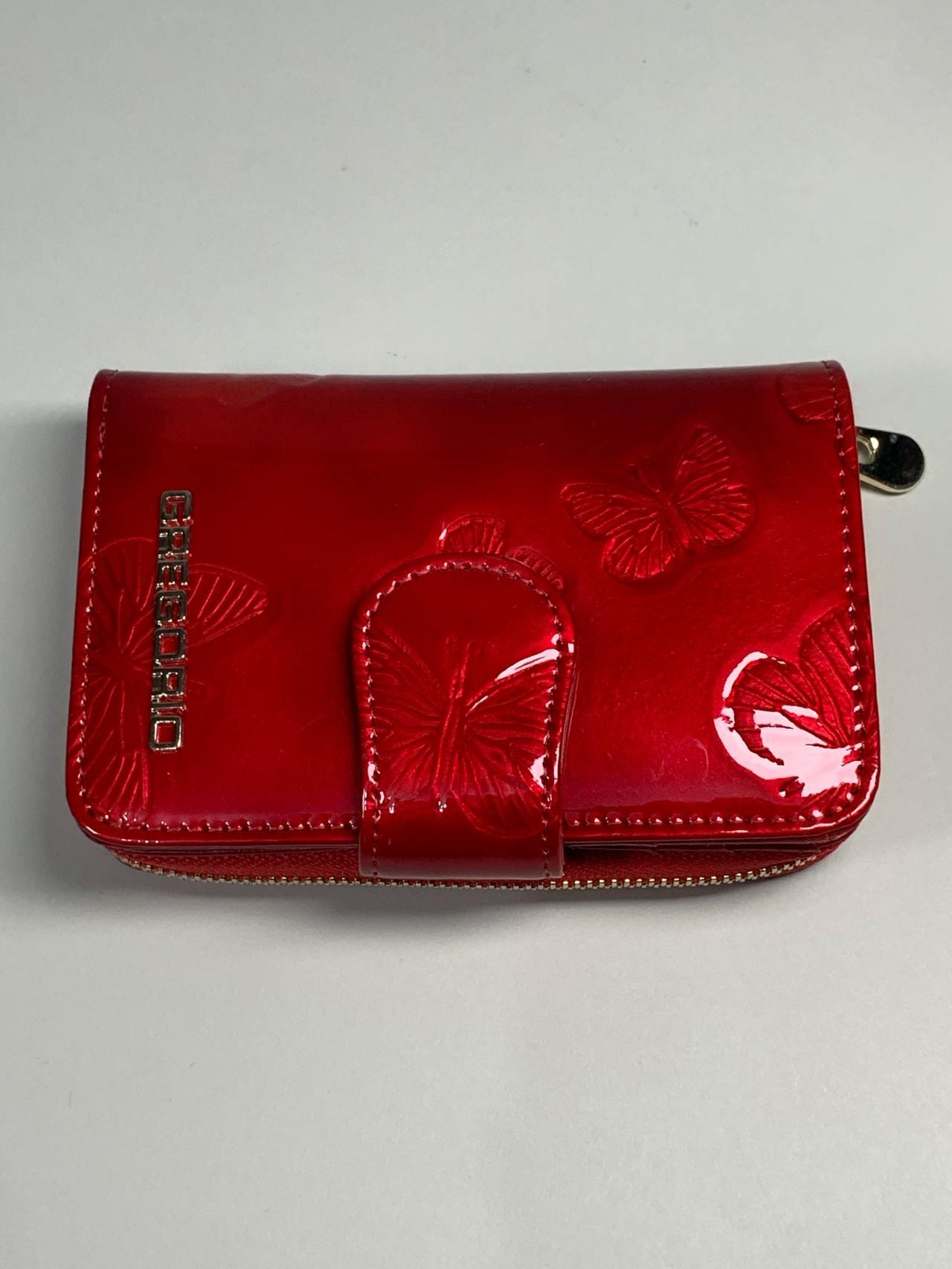 Kožená peněženka Gregorio S červená s motýly -02