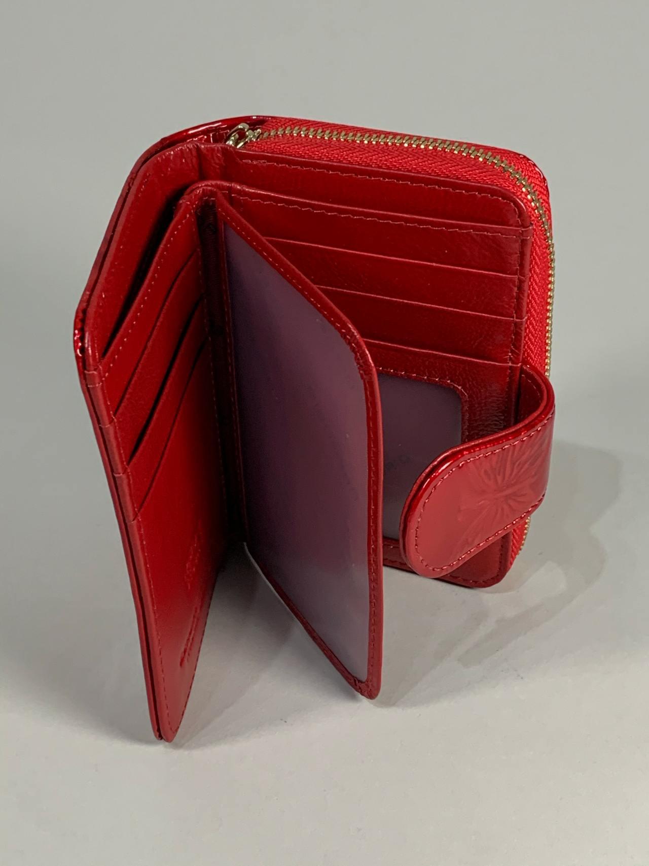 Kožená peněženka Gregorio S červená s motýly -03