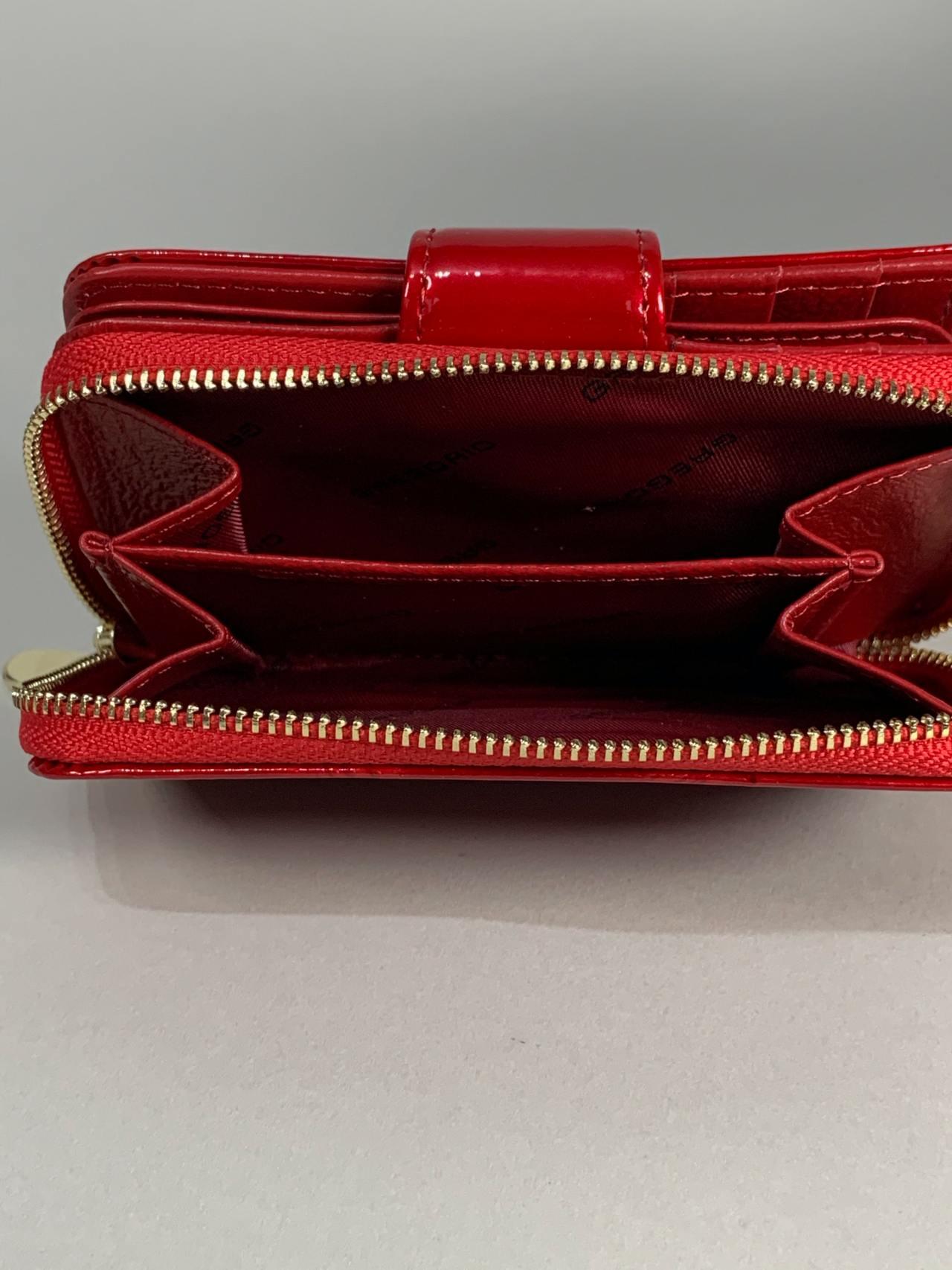 Kožená peněženka Gregorio S červená s motýly -05
