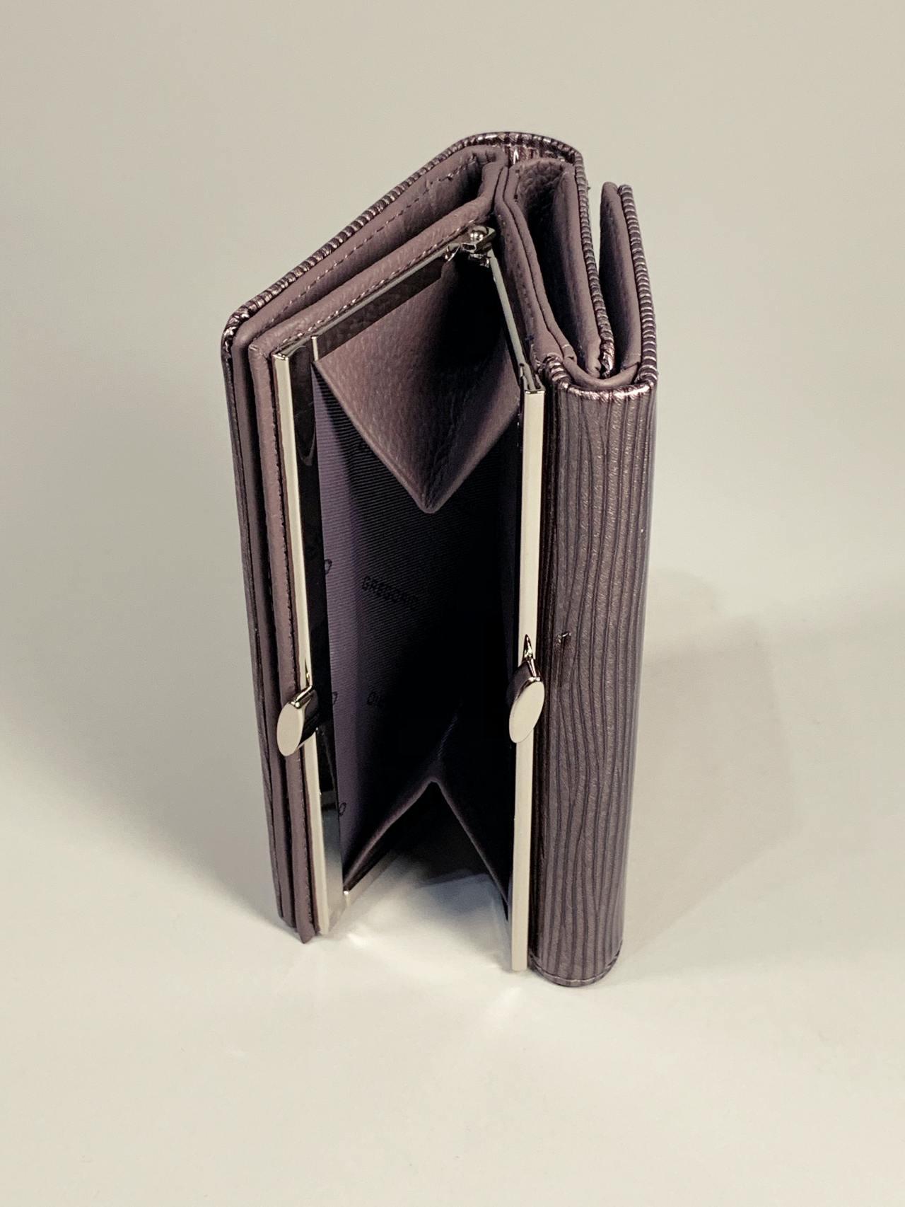 Kožená peněženka Gregorio S šedá lesklá -04
