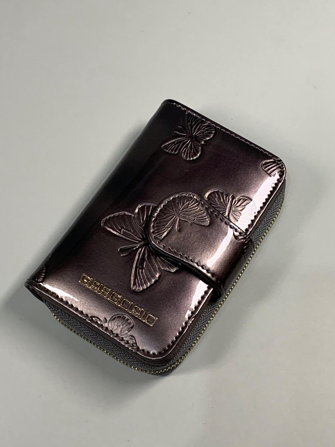 Kožená peněženka Gregorio S šedá s motýly -01