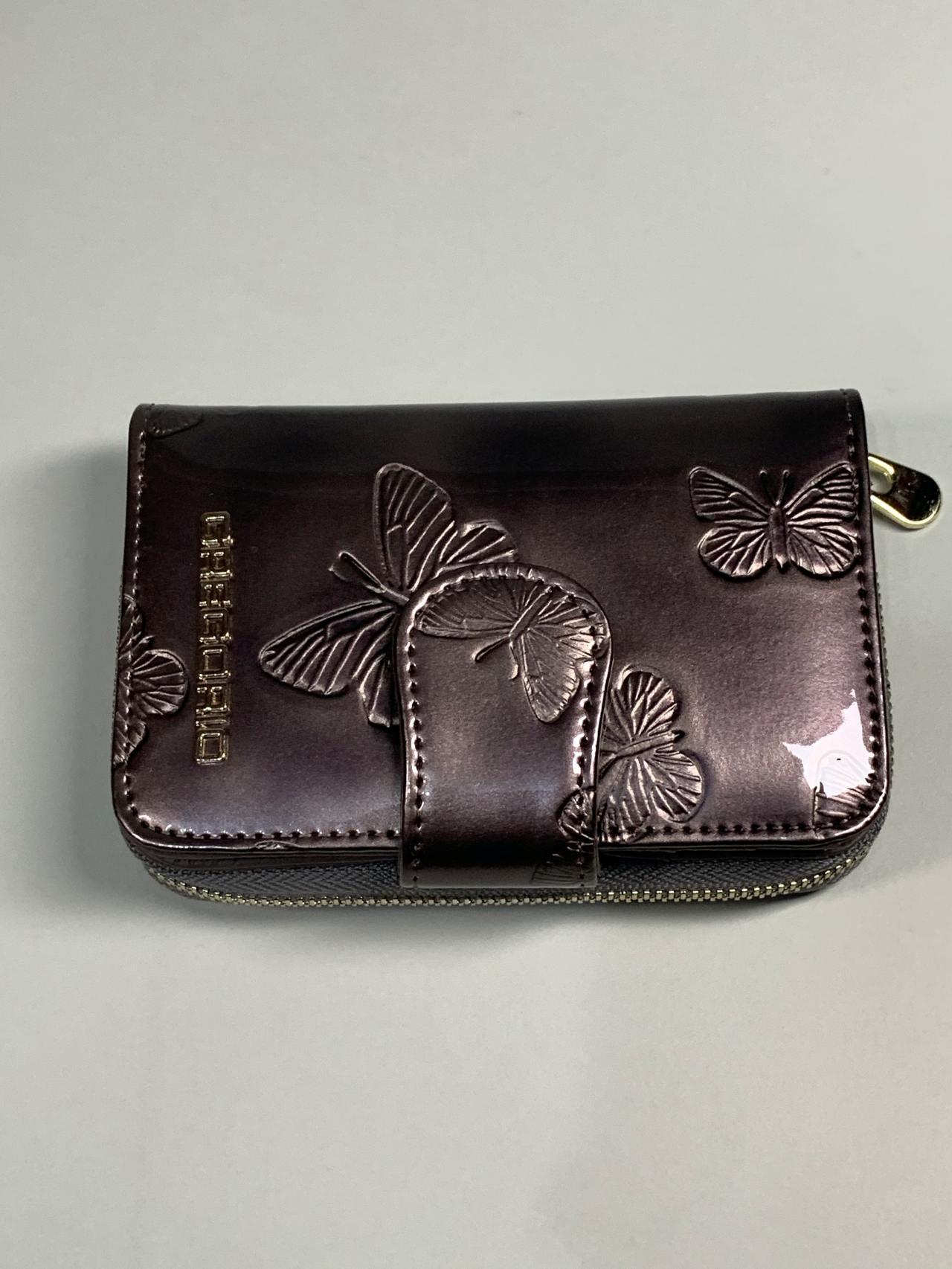 Kožená peněženka Gregorio S šedá s motýly -02