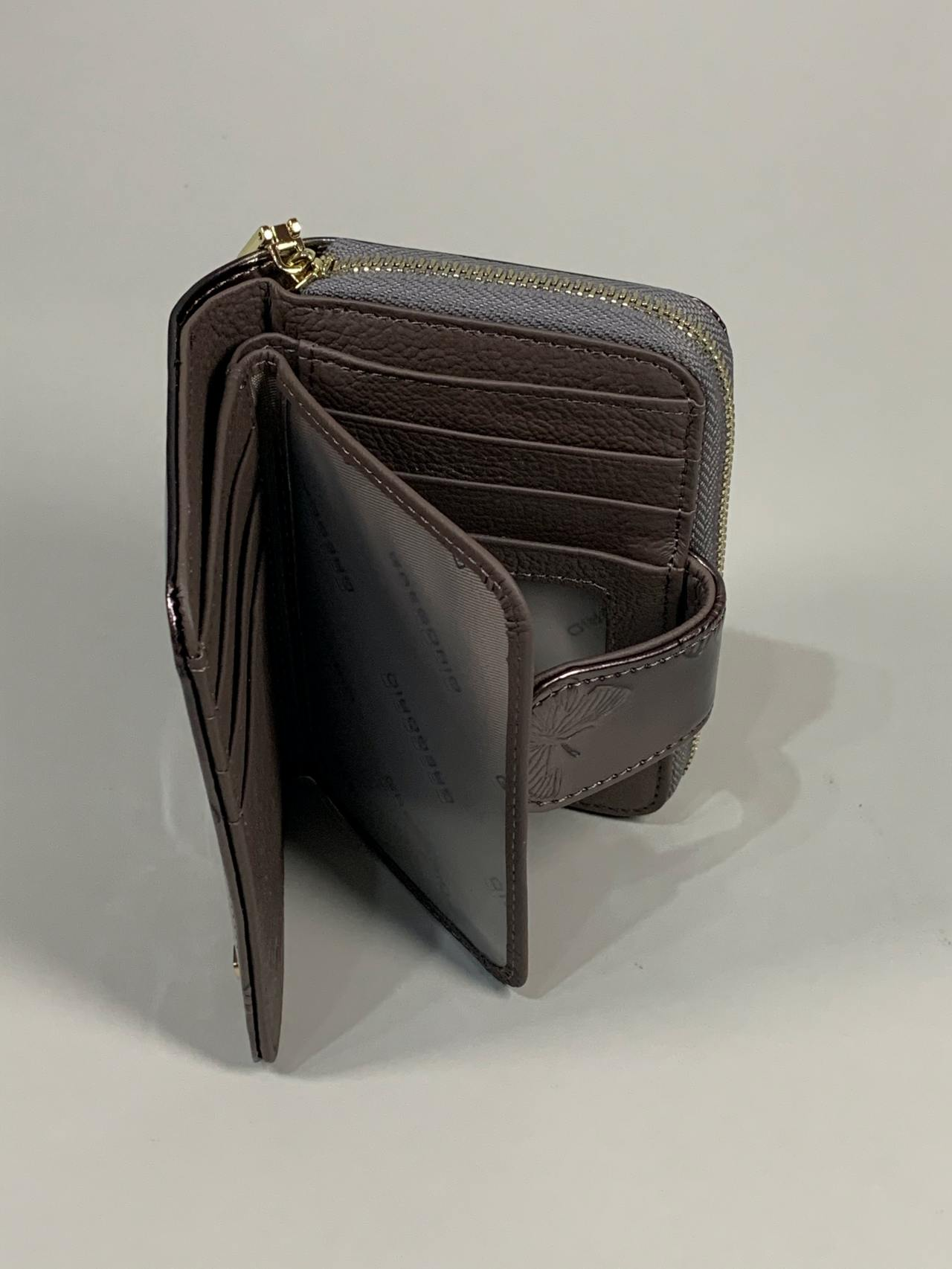 Kožená peněženka Gregorio S šedá s motýly -03
