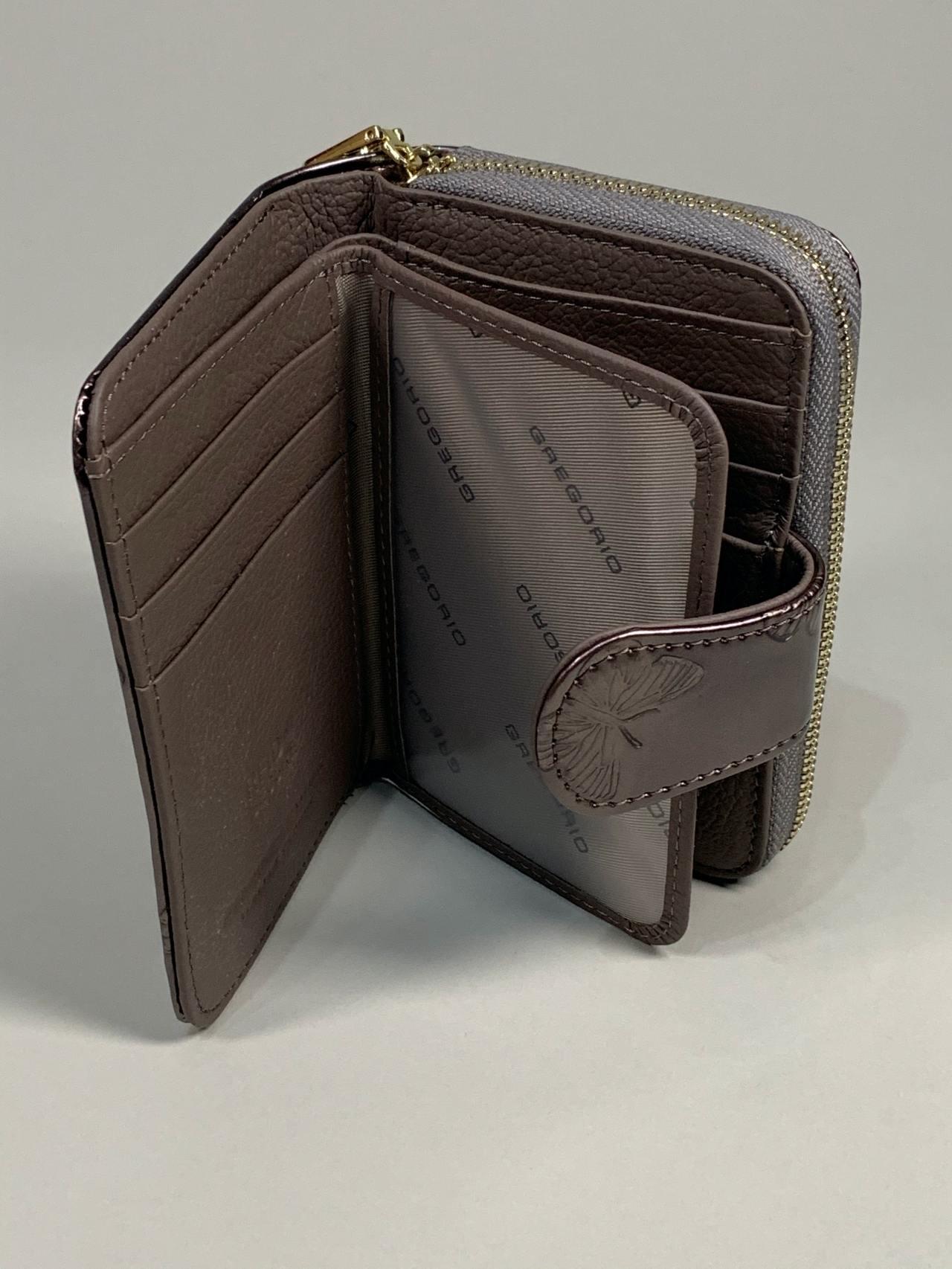 Kožená peněženka Gregorio S šedá s motýly -05