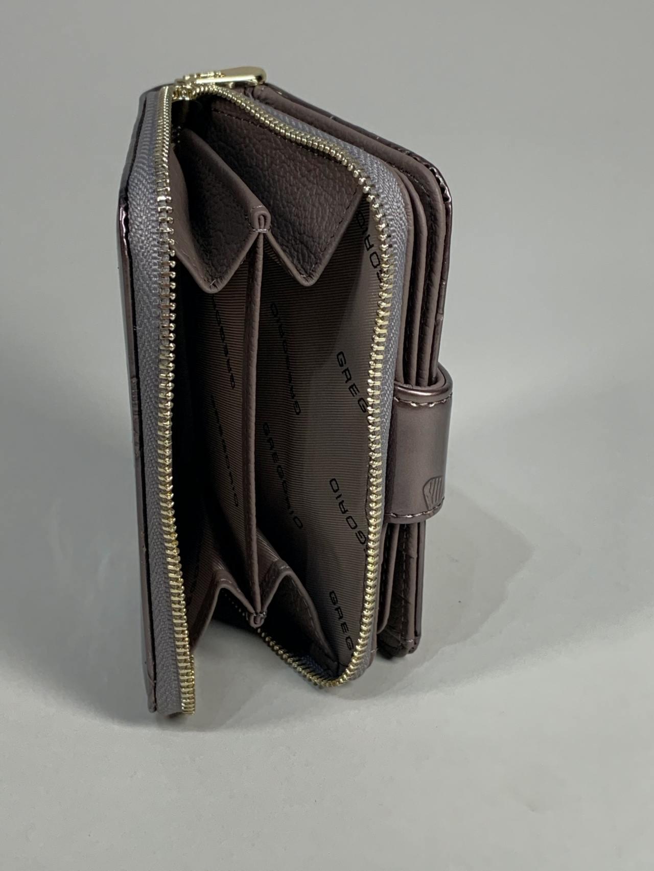Kožená peněženka Gregorio S šedá s motýly -06
