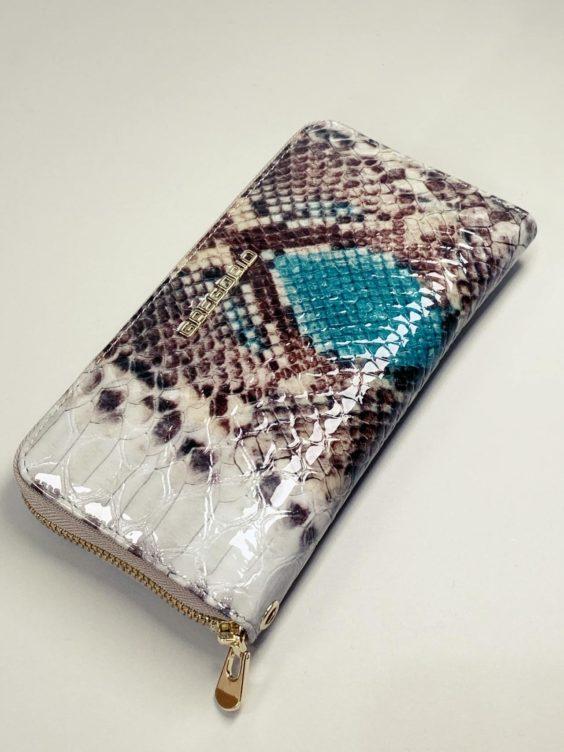 Kožená peněženka Gregorio Snake L hnědotyrkysová -01
