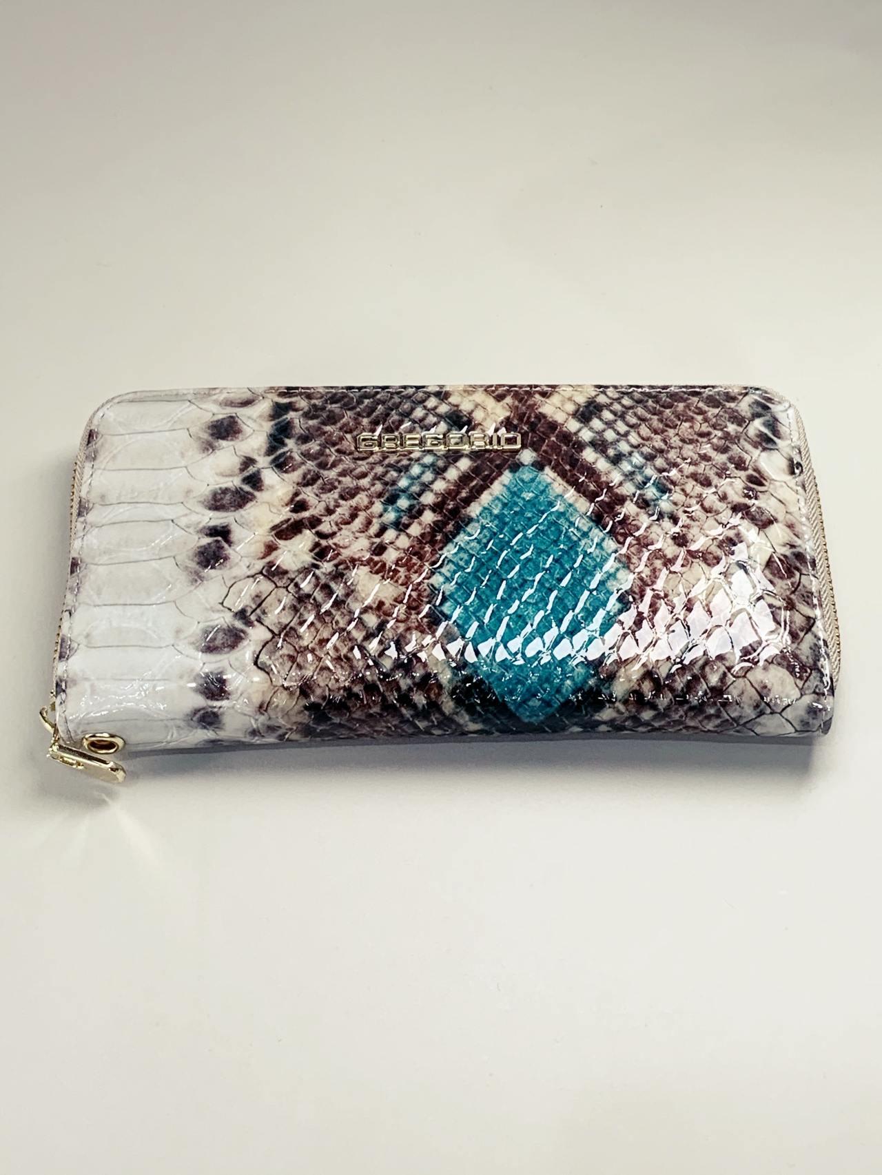 Kožená peněženka Gregorio Snake L hnědotyrkysová -02