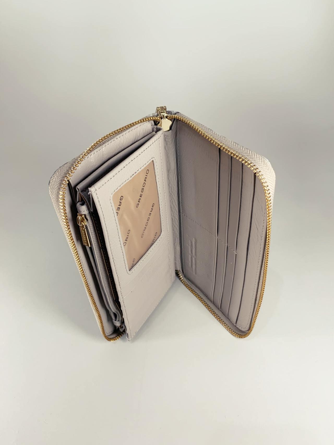 Kožená peněženka Gregorio Snake L hnědotyrkysová -03