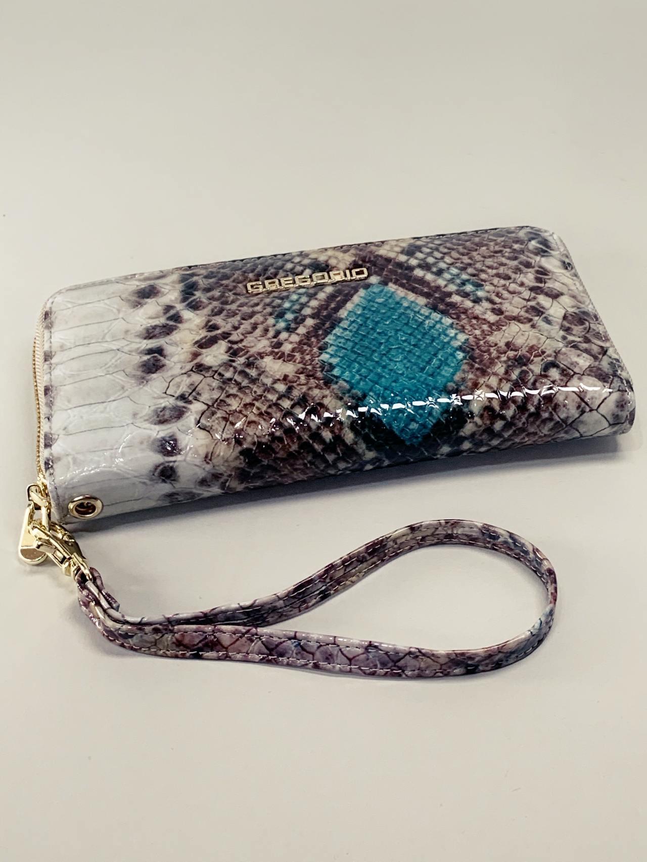 Kožená peněženka Gregorio Snake L hnědotyrkysová -05
