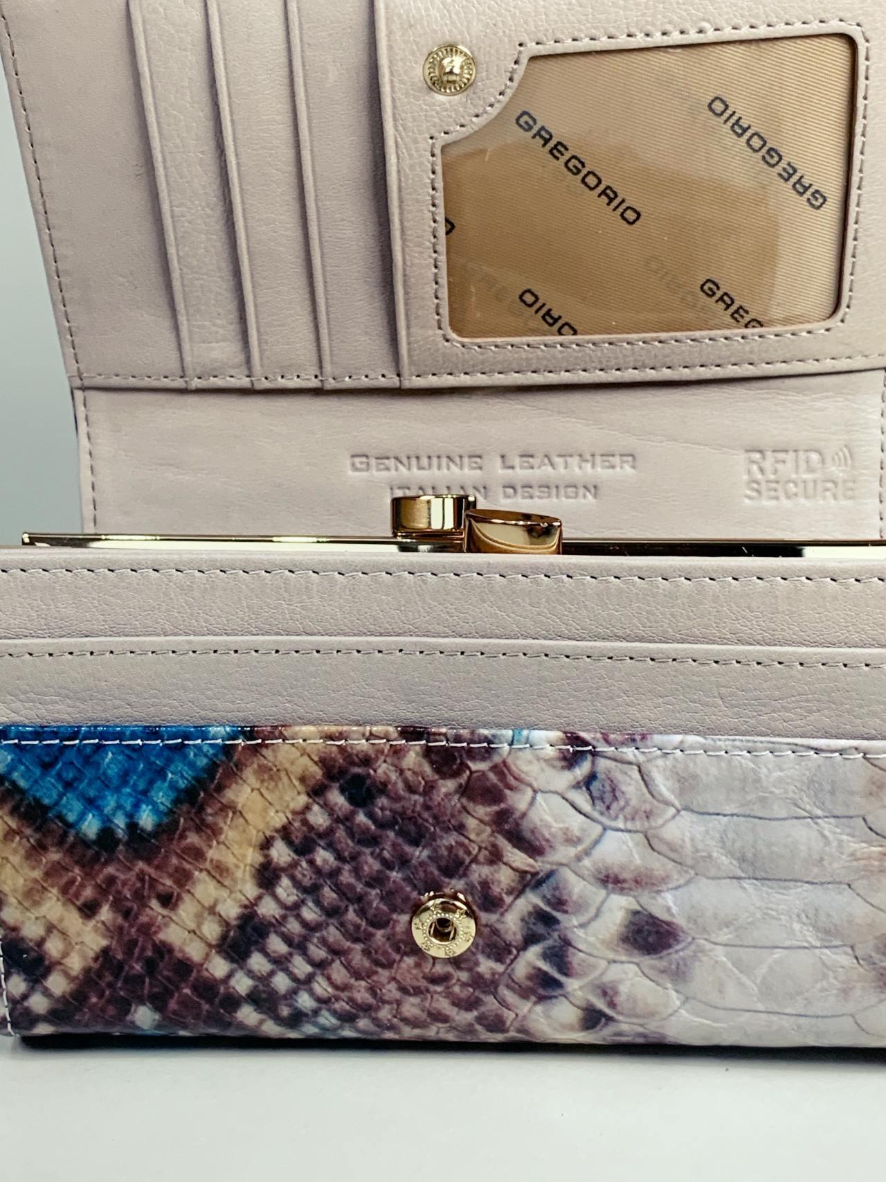 Kožená peněženka Gregorio Snake M modrá -05