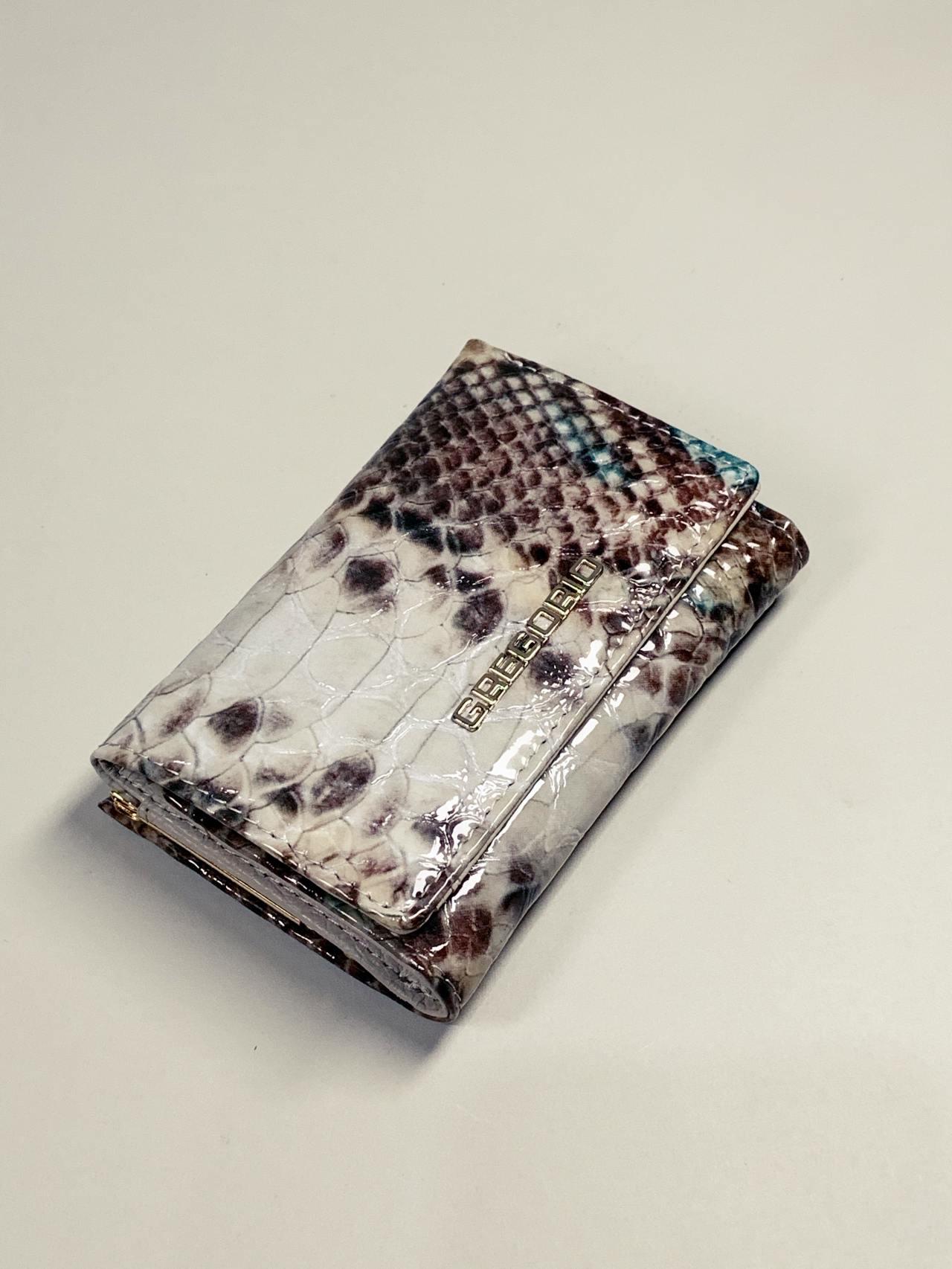 Kožená peněženka Gregorio Snake S hnědotyrkysová -01