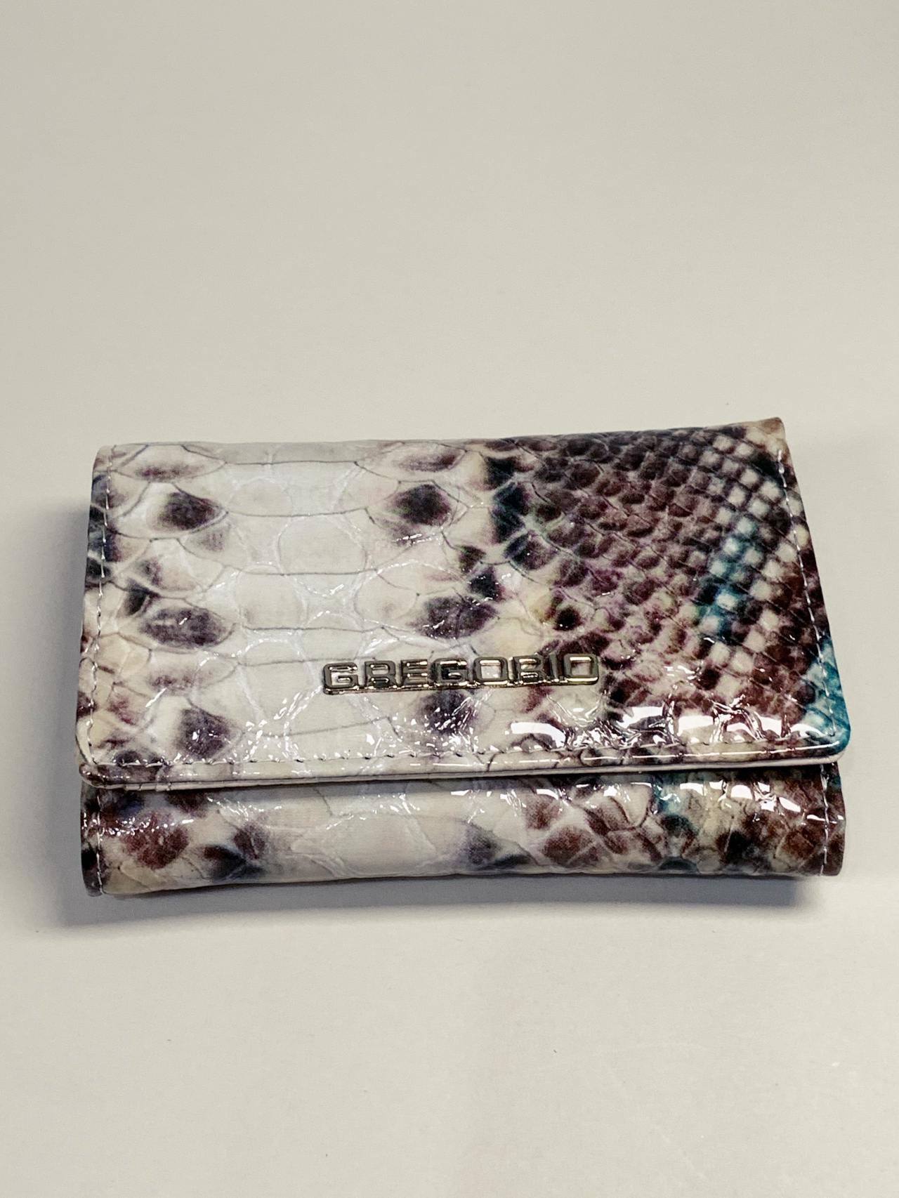Kožená peněženka Gregorio Snake S hnědotyrkysová -02
