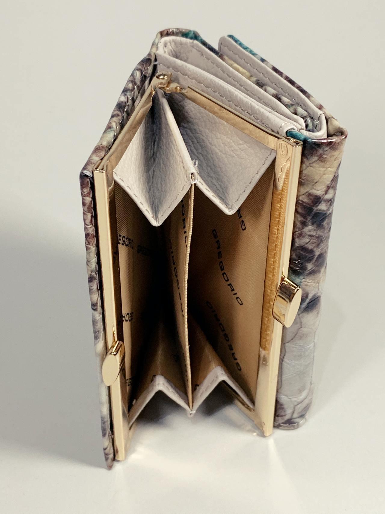 Kožená peněženka Gregorio Snake S hnědotyrkysová -04