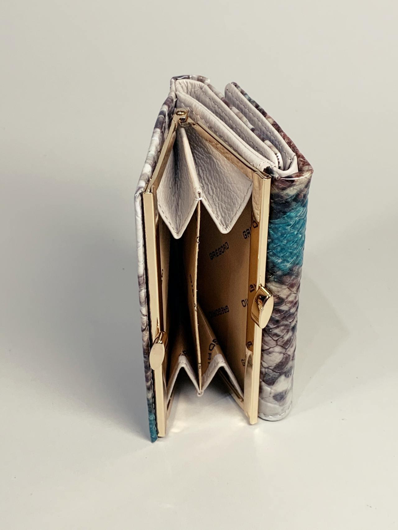 Kožená peněženka Gregorio Snake S tyrkysová -04