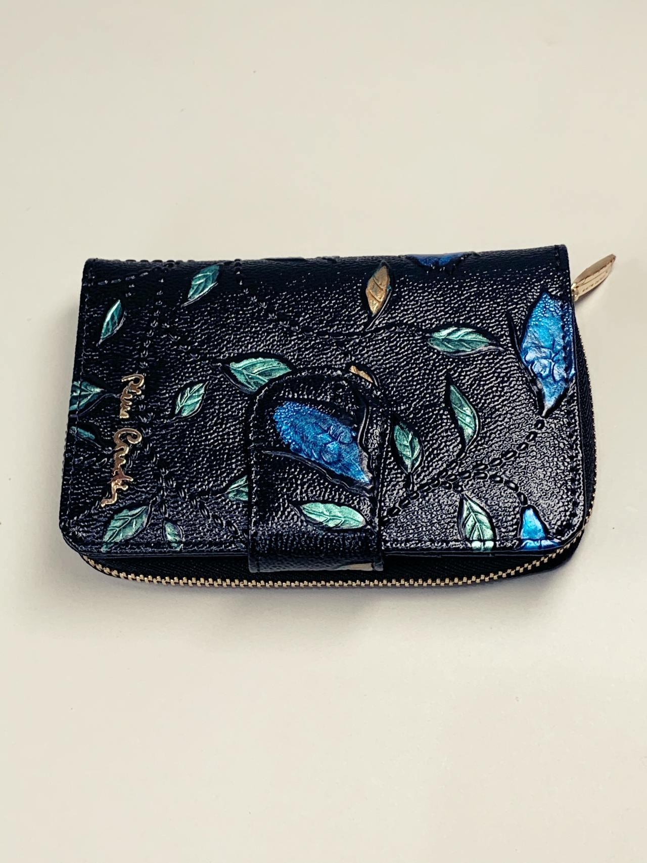 Kožená peněženka Pierre Cardin S černá s lístky -02
