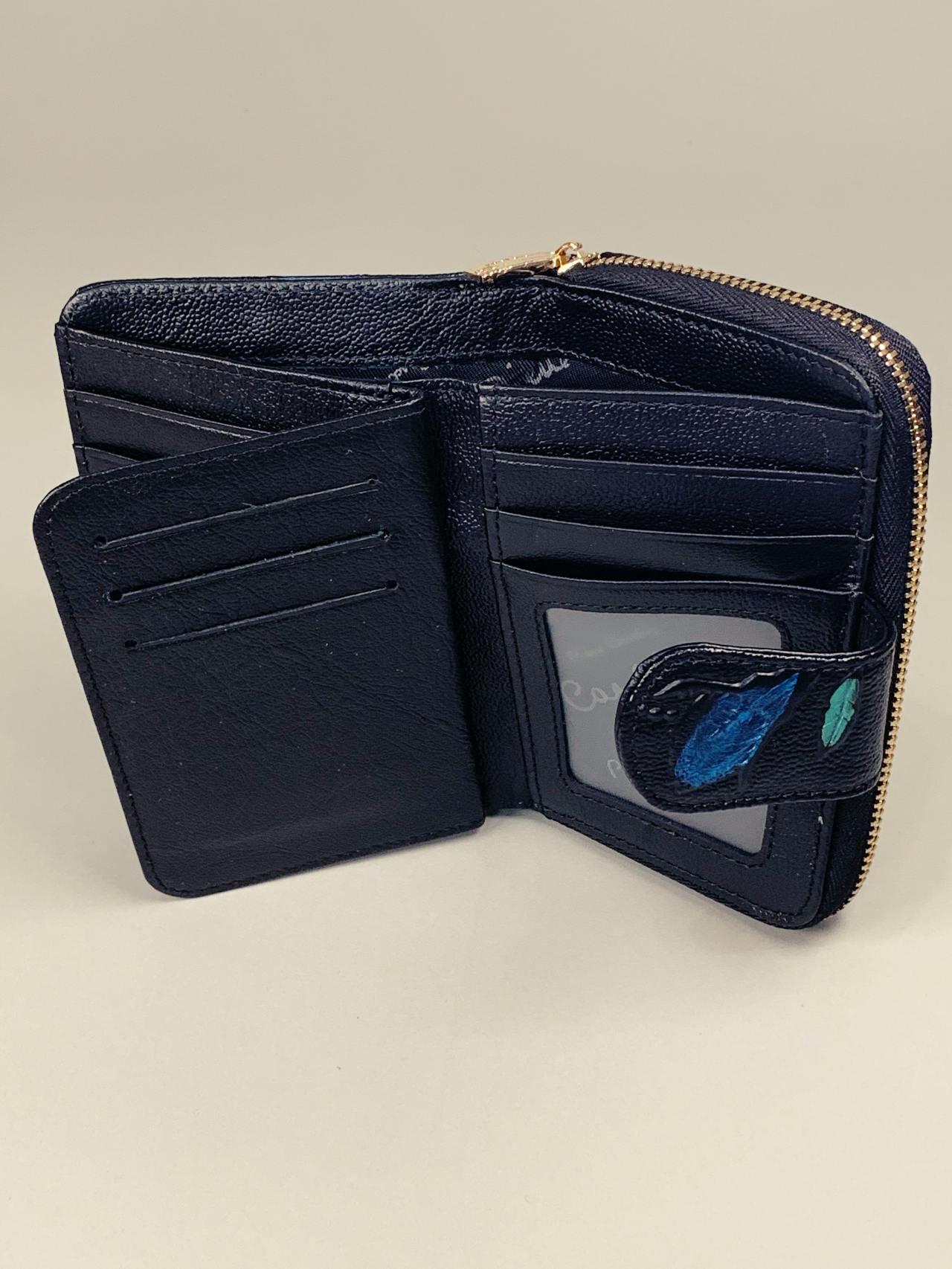 Kožená peněženka Pierre Cardin S černá s lístky -04